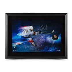 """Aaron Ekblad Signed Panthers """"Slap Shot Breaking Through"""" 22x30 Custom Framed Hockey Puck Display (U"""