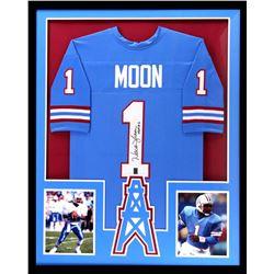 "Warren Moon Signed Oilers 34x42 Custom Framed Jersey Inscribed ""HOF 06"" (Radtke COA)"