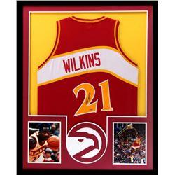 Dominique Wilkins Signed Hawks 34x42 Custom Framed Jersey (Tristar)