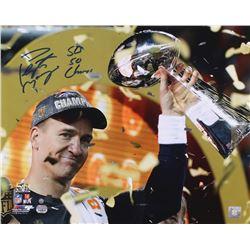 "Peyton Manning Signed Broncos ""Super Bowl 50 Celebration"" 16x20 Photo Inscribed ""SB 50 Champs"" (Stei"
