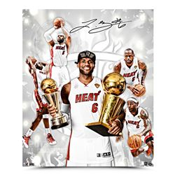 "LeBron James Signed Heat ""NBA Finals Stage"" 16x20 Photo (UDA COA)"