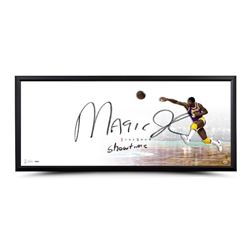 """Magic Johnson Signed lakers """"The Show"""" 20x46 LE Custom Framed Lithograph Inscribed """"Showtime"""" (UDA C"""