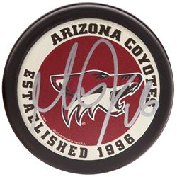 Max Domi Signed Coyotes Logo Hockey Puck (UDA COA)