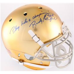 "Rudy Ruettiger Signed Full-Size Notre Dame Fighting Irish Authentic On-Field Helmet Inscribed ""Play"