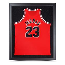 Michael Jordan Signed Bulls 32x42 Custom Framed Jersey (UDA COA)