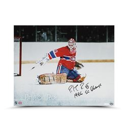 """Patrick Roy Signed Canadiens """"The Save"""" 16x20 Photo Inscribed """"1986 SC Champs"""" (UDA COA)"""