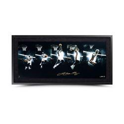 "LeBron James Signed ""Art of the Dunk"" 15x36 Custom Framed Limited Edition Photo (UDA COA)"
