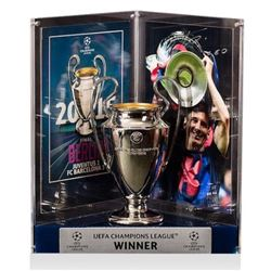 "Lionel ""Leo"" Messi Signed Barcelona 2015 UEFA Replica Trophy Display (Icons COA)"
