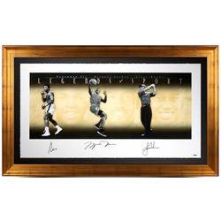 """Muhammad Ali, Michael Jordan  Tiger Woods Signed """"Legends of Sport"""" 34x57 Limited Edition Gold Frame"""