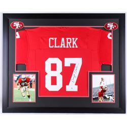 Dwight Clark Signed 49ers 35.5x43.5 Custom Framed Jersey Display (Beckett COA)