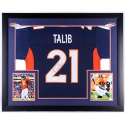 Aqib Talib Signed Broncos 35.5x43.5 Custom Framed Jersey Display (JSA COA)