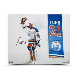 """Grant Fuhr Signed Oilers """"Banner Night"""" 16x20 Limited Edition Photo (UDA COA)"""
