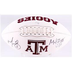 Michael Bennett  Martellus Bennett Signed Texas AM Aggies Logo Football (JSA COA)
