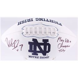 """Will Fuller Signed Notre Dame Fighting Irish Logo Football Inscribed """"Play Like a Champion Today"""" (J"""