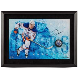 "Connor McDavid Signed Oilers ""Commanding"" 16x24 Custom Framed Hockey Puck Break Through Display Insc"