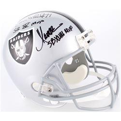 Jim Plunkett, Fred Biletnikoff  Marcus Allen Signed Raiders Full-Size Helmet With (3) Super Bowl MVP