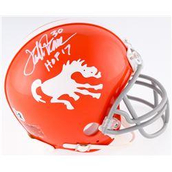"Terrell Davis Signed Broncos Throwback Mini Helmet Inscribed ""HOF 17"" (Radtke COA  Davis Hologram)"