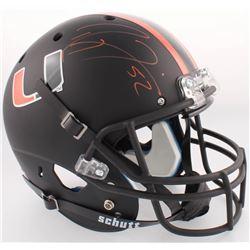 Ray Lewis Signed Miami Hurricanes Full-Size Custom Matte Black Helmet (Radtke COA  Lewis Hologam)