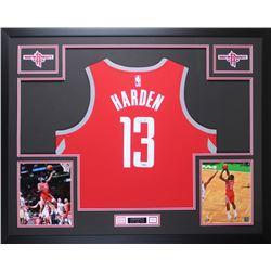 James Harden Signed Rockets 35x43 Custom Framed Jersey Display (Fanatics)