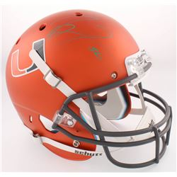 Ray Lewis Signed Miami Hurricanes Full-Size Custom Matte Orange Helmet (Radtke COA  Lewis Hologram)