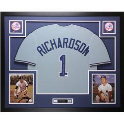 Bobby Richardson Signed Yankees 35x43 Custom Framed Jersey (JSA COA)