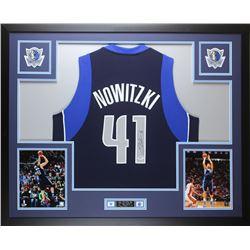 Dirk Nowitzki Signed Mavericks 35x43 Custom Framed Jersey (PSA COA)