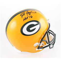 Brett Favre Signed Packers Full-Size Helmet Inscribed  HOF 16  (JSA COA)