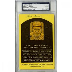 Earle Combs Signed Gold Hall Of Fame Postcard (PSA Encapsulated - Autograph Graded PSA 7)