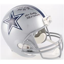 Bob Lilly Signed Cowboys Full-Size Helmet Inscribed  HOF 80 ,  Mr.Cowboy    SBVI Champs  (JSA COA)