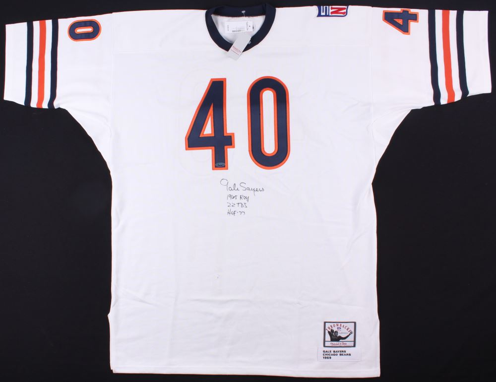 info for 6be64 4c21f Gale Sayers Signed Bears Throwback Jersey Inscribed