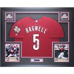 "Jeff Bagwell Signed Astros 35"" x 43"" Custom Framed Jersey (TriStar)"