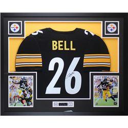 Leveon Bell Signed Steelers 35x43 Custom Framed Jersey (JSA COA)