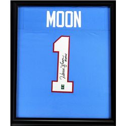 "Warren Moon Signed Oilers 23x27 Custom Framed Jersey Inscribed ""HOF 06"" (Radtke COA)"