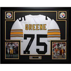 """Joe Greene Signed Steelers 35"""" x 43"""" Custom Framed Jersey Inscribed """"HOF 87"""" (JSA COA)"""