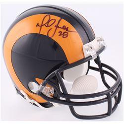 Marshall Faulk Signed Rams Throwback Mini-Helmet (JSA COA)