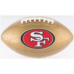 Jerry Rice Signed 49ers Logo Gold Leather Football (Radtke COA)