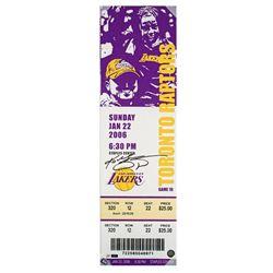 """Kobe Bryant Signed """"81 Point Game"""" 9x33 Oversized Ticket on Canvas (Panini COA)"""