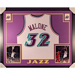Karl Malone Signed Signed Jazz 35x43 Custom Framed Jersey Display (Beckett COA)