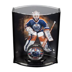 Grant Fuhr Signed Oilers Acrylic Hockey Puck with Limited Edition Goaltender Curve Display Case (UDA