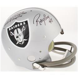 Ray Guy Signed Raiders LE Full-Size Throwback Suspension Helmet with (5) Career Stat Inscriptions (R