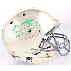 """Lou Holtz Signed Notre Dame Fighting Irish Full-Size Helmet Inscribed """"88 National Champs""""  """"Screwed"""