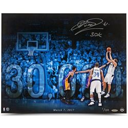 "Dirk Nowitzki Signed Mavericks 16x20 Limited Edition Photo Inscribed ""30k"" (UDA COA)"