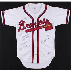 500 Home Run Club Braves Jersey Signed by (8) With Ted Williams, Reggie Jackson, Willie Mays, Frank