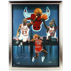 Michael Jordan Signed LE Bulls 35.25x45 Parson Custom Framed Giclee on Canvas Display (UD COA)
