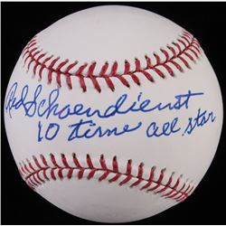 "Red Schoendienst Signed OML Baseball Inscribed ""10 Time All Star"" (JSA COA)"