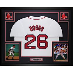 "Wade Boggs Signed Red Sox 35"" x 43"" Custom Framed Jersey (JSA COA)"