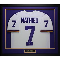 "Tyrann Mathieu Signed LSU Tigers 32"" x 37"" Custom Framed Jersey (JSA COA)"