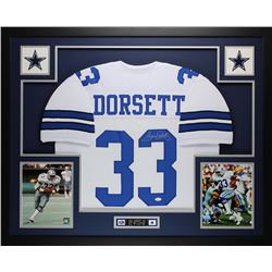 "Tony Dorsett Signed Cowboys 35"" x 43"" Custom Framed Jersey (JSA COA)"