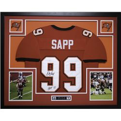 "Warren Sapp Signed Buccaneers 35x43 Custom Framed Jersey Inscribed ""HOF 13"" (JSA COA)"