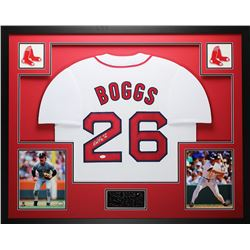 "Wade Boggs Signed Red Sox 35x43 Custom Framed Jersey Inscribed ""HOF 05"" (JSA COA)"
